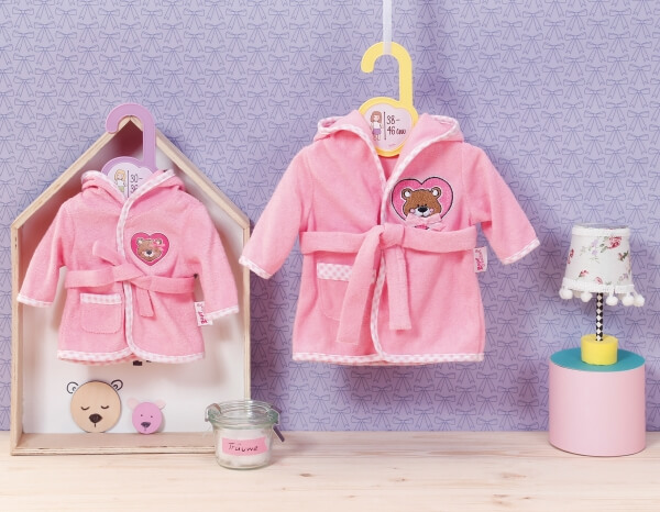 Kleidung & Accessoires Zapf Creation Dolly Moda Bademantel 38-46 cm Rosa Babypuppen & Zubehör