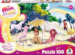 Schmidt Puzzle 56246 Mia and Me, Am Strand, Glitzerpuzzle, 100 Teile, ab 6 Jahre