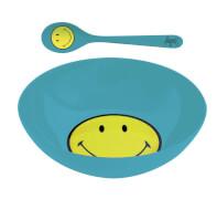 Smiley Frühstücksset, aqua blau