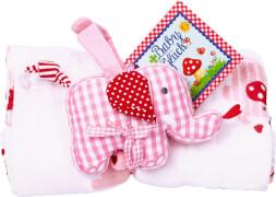 Geschenkset Mulltuch+Spieluhr BabyGlück, rosa